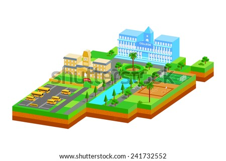easy to edit vector illustration of isometric educational building - stock vector
