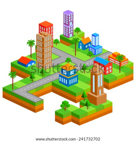 easy to edit vector illustration of isometric skyscraper of city - stock vector