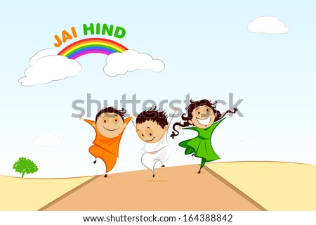 easy to edit vector illustration of kids with Indian flag - stock vector