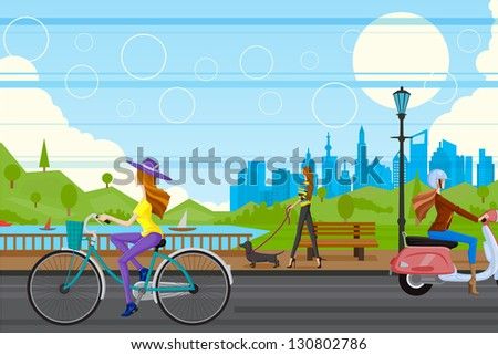 easy to edit vector illustration of lady in urban city - stock vector