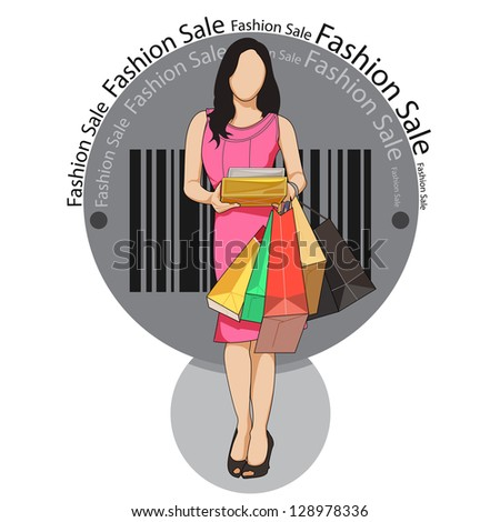 easy to edit vector illustration of lady with shopping bag in fashion sale poster - stock vector