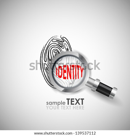 easy to edit vector illustration of magnifying glass on finger prints showing identity - stock vector
