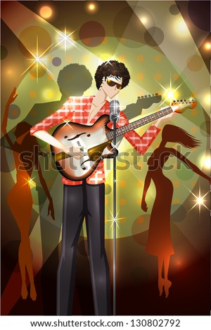 easy to edit vector illustration of man playing guitar - stock vector