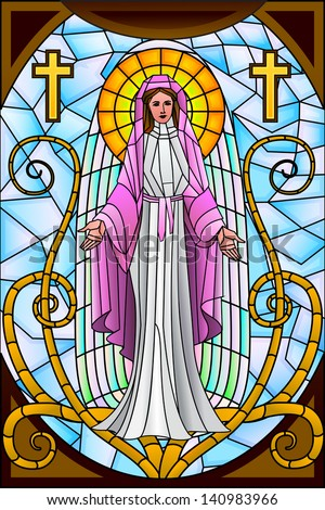 easy to edit vector illustration of Mother Mary in stained glass painting - stock vector