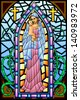 easy to edit vector illustration of Mother Mary with Jesus Christ in stained glass painting - stock photo
