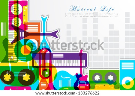 easy to edit vector illustration of music background with colorful instrument - stock vector