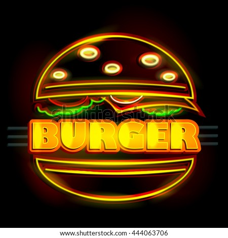 easy to edit vector illustration of Neon Light signboard for Burger - stock vector