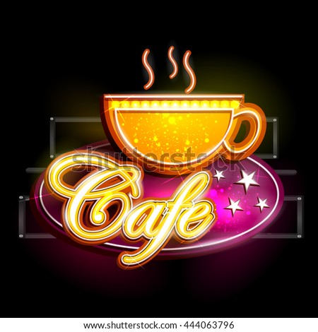 easy to edit vector illustration of Neon Light signboard for Cafe - stock vector