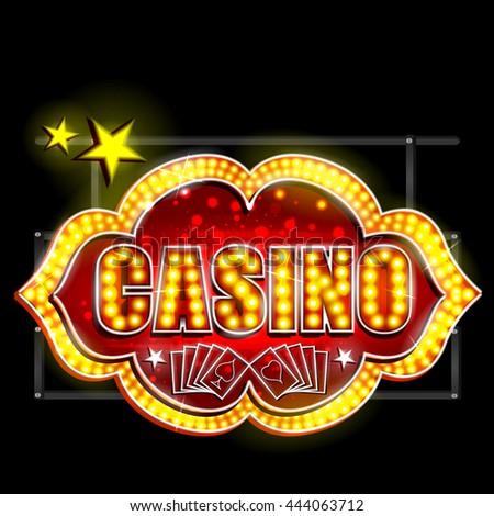 easy to edit vector illustration of Neon Light signboard for Casino - stock vector