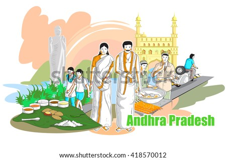 easy to edit vector illustration of people and culture of Andhra Pradesh, India - stock vector
