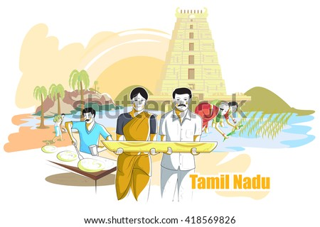 easy to edit vector illustration of people and culture of Tamil Nadu, India - stock vector