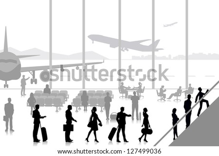 easy to edit vector illustration of people in airport lounge - stock vector