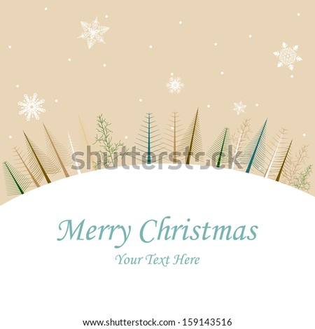 easy to edit vector illustration of pine tree in Christmas winter night - stock vector