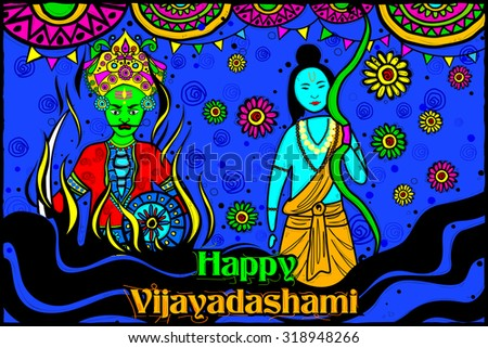 easy to edit vector illustration of Rama killing Ravana for Happy Vijayadashami in Indian art style background
