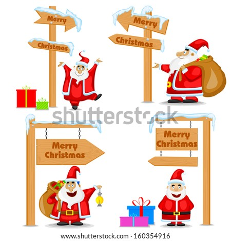 easy to edit vector illustration of Santa Claus near signpost of Merry Christmas - stock vector