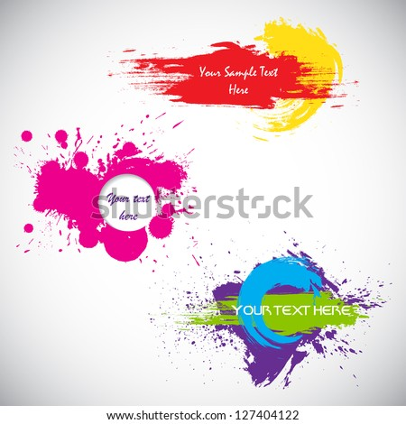 easy to edit vector illustration of set of grungy splash - stock vector