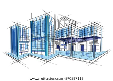 Easy edit vector illustration sketch exterior vector de easy to edit vector illustration of sketch of exterior building draft blueprint design malvernweather Gallery