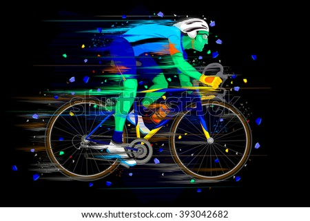 easy to edit vector illustration of Sportsman doing Cycling - stock vector