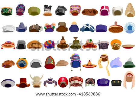 easy to edit vector illustration of traditional hat of different communities across the world - stock vector
