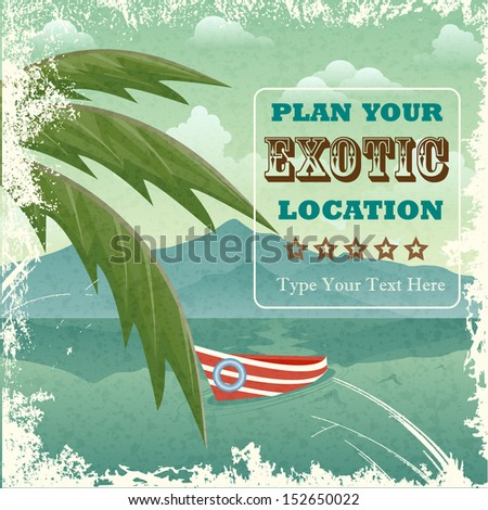 easy to edit vector illustration of vintage travel poster design - stock vector