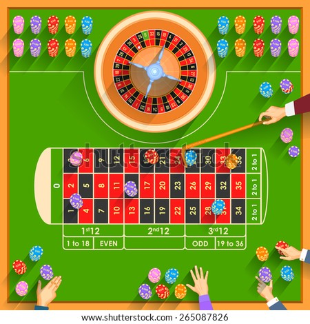 easy to edit vector illustration of working table of casino - stock vector