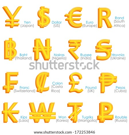 easy to edit vector illustration of world currency symbol - stock vector