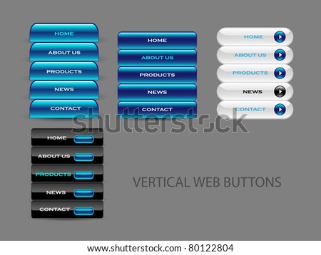 Easy to edit web navigation templates , blue and black on the grey background - stock vector