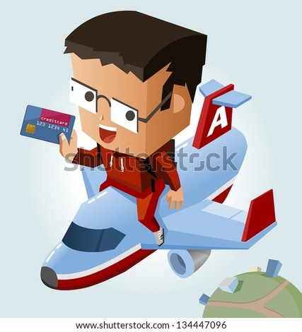 Easy travelling with credit card. Vector Illustration - stock vector