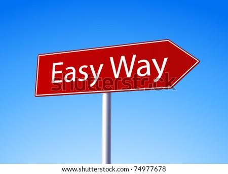 Easy way red arrow road sign - more variations in portfolio - stock vector