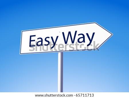 Easy way road sign - stock vector