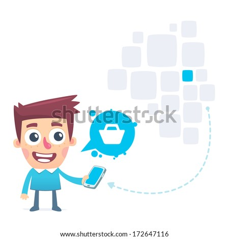 Easy way to make online purchases through tablet - stock vector