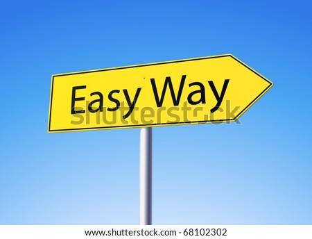 Easy way yellow road sign - stock vector