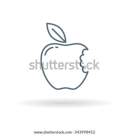 Eat apple icon. Fruit bite symbol. Thin line sign on white background. Vector illustration. - stock vector