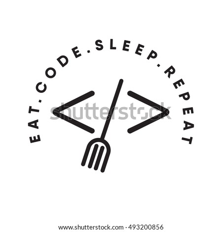 Eat code sleep repeat concept. coding and food icon. logo design. fork in brackets. punk art. vector illustration. eps10
