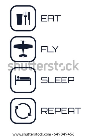 Eat Fly Sleep Repeat Icons on white background