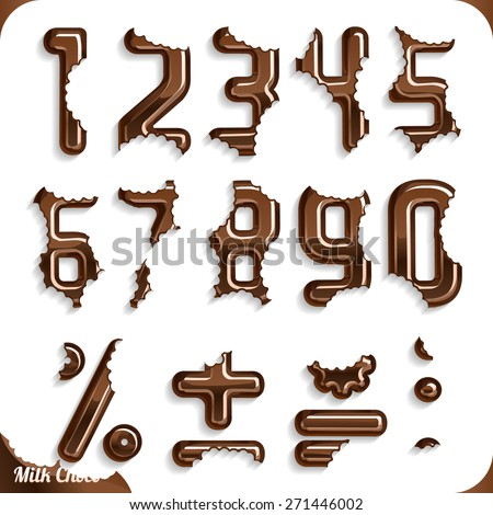Eat some chocolate, Part 2/2 Numbers - stock vector