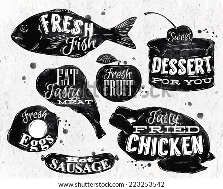 Eat symbol in retro vintage style lettering pan eggs, apple, chicken, cake, fish, meat, sausage - stock vector