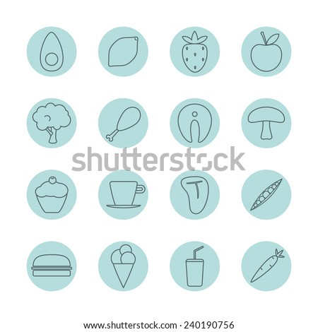 Eating and food vector icon set. Round layouts, thin outlines, minimalist and flat design style. Perfect for any business related to the food industry.  - stock vector