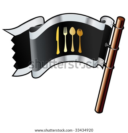 Eating utensils icon on black, silver, and gold vector flag good for use on websites, in print, or on promotional materials - stock vector