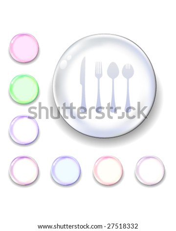Eating utensils icon on translucent glass orb vector button - stock vector
