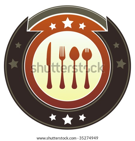 Eating utensils or dining icon on round red and brown imperial vector button with star accents suitable for use on website, in print and promotional materials, and for advertising. - stock vector