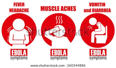 Ebola symptoms - stock vector