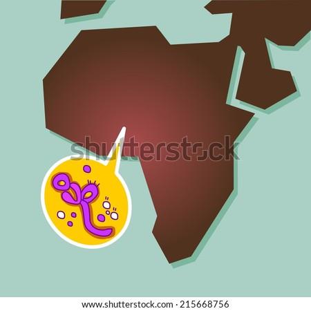Ebola virus spreading in Africa. Flat vector illustration - stock vector