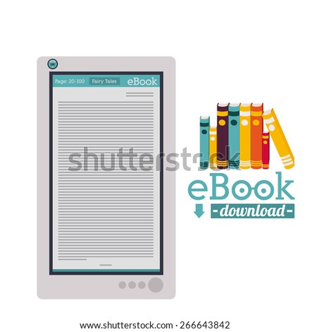 Ebook design over white background, vector illustration