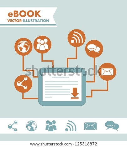 ebook download over blue background. vector illustration - stock vector