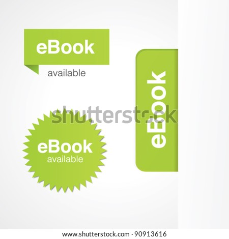 eBook tabs and stickers for online and print advertising. - stock vector