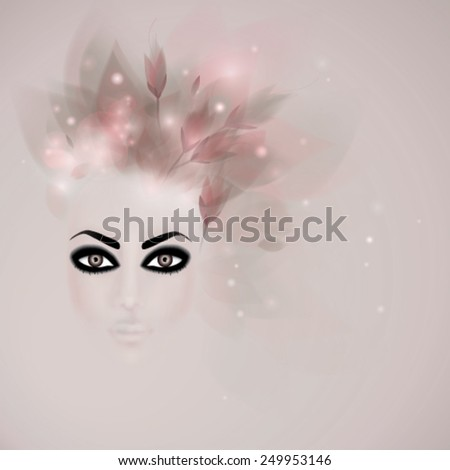 Eccentric spring makeup / Woman with bold eyeliners   - stock vector