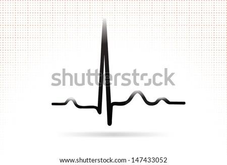 ECG complex. Normal sinus complex. Web icon.  - stock vector