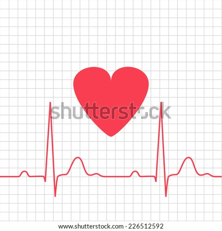 ECG - electrocardiogram with heart on grid, 2d illustration, vector, eps 8 - stock vector