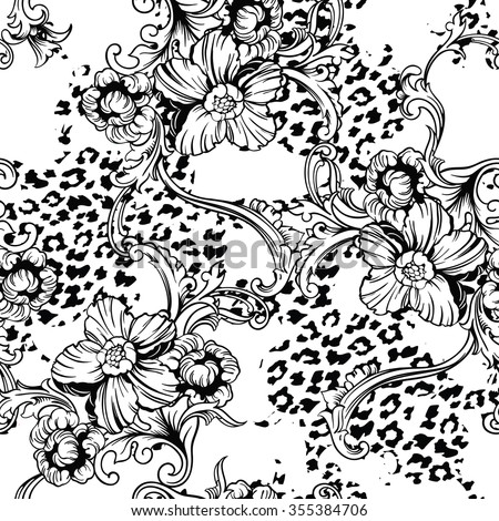 Eclectic fabric seamless pattern. Animal background with baroque ornament. Vector illustration - stock vector